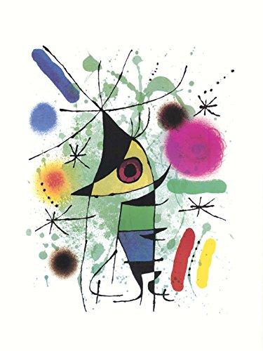 Joan Miro la cantatrice 80 x 60 cm cadre sur Panneau en bois MDF bord noir