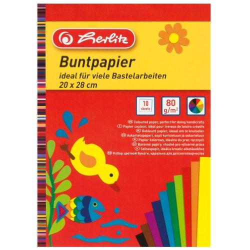 Herlitz kleurpapier blok, 20 x 28 cm, 10 vellen, 5-pack, eenzijdig gekleurd, 10 kleuren