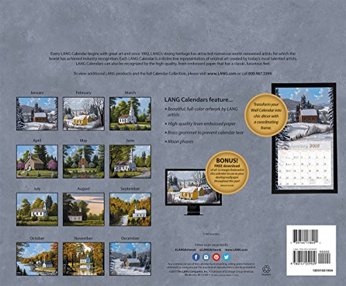 """LANG - 2018 Wall Calendar - """"Country Churches"""", Artwork By Bill Saunders - 12 Month - Open 13 3/8"""" X 24"""" Photo #3"""