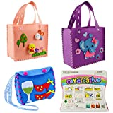 Sewing Kit for Kids Beginners 3 Pack Girls Sewing Project Pattern Bag Handbag by MeMo Toys (Set3) (Office Product)