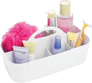 mDesign Plastic Portable Storage Organizer Caddy Tote - Divided Basket Bin with Handle for Bathroom, Dorm Room - Holds Hand Soap, Body Wash, Shampoo, Conditioner, Lotion - Large - White