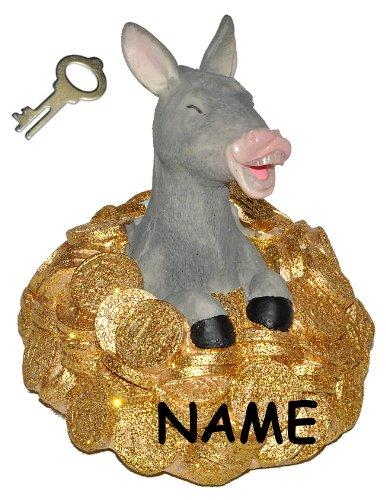 alles-meine.de GmbH Spardose Goldesel - mit Schlüssel + Name - stabile Sparbüchse aus Kunstharz - Esel mit Gold Geld Sparschwein Kohle Käse Geldhaufen