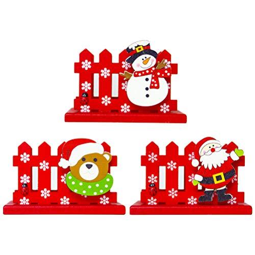 PRETYZOOM - Caja de cartón para tarjetas de visita, madera, soporte para tarjetas de visita, organizador de almacenamiento, para oficina (Santa + oso + muñeco de nieve)
