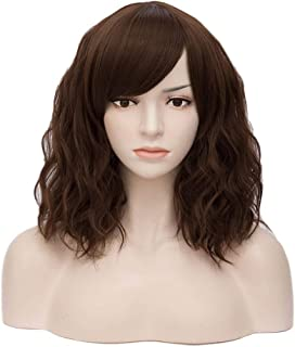 netgo Women Short Wavy Brown Wigs with Bangs Heat Resistant Synthetic Wig for Cosplay Party Bob Style