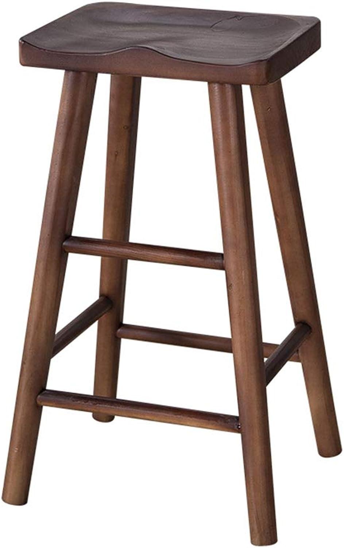 Barstools Chair Retro Bar Chair Bar Stool,Solid Wood High Stool Restaurant Household Creative Dining Chair (color   Walnut color, Size   55CM)