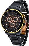 Oniss #ON621-MRG Men's Rose Gold Tone Trim Black Ceramic Sports Chronograph Watch