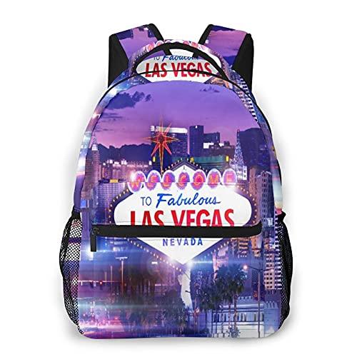 CVSANALA Multifuncional Casual Mochila,Destino las Vegas,Paquete de Hombro Doble Bolsa de Deporte de Viaje Computadoras Portátiles