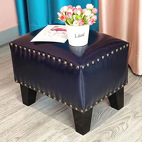 DSDD Footstool Upholstered Cube Pouf Ottoman,Leather Pouffe Footstool Solid Wood Square Leather Living Room Coffee Table Small Bench Storage