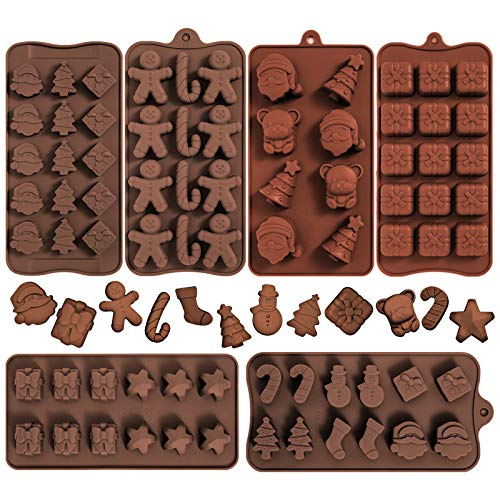 Whaline 6pcs Christmas Silicone Chocolate Mould, Xmas Candy Mold Trays, Baking Jelly Sweet Mould Santa Clause Snowman Christmas Tree Present Gingerbread Stockings Bear Star Candy Cane
