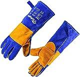 SAFEYEAR Guanti da saldatura in pelle con cuciture in kevlar, guanti da lavoro resistenti al calore estremo per saldatura, caminetto, stufa, forno, griglia, barbecue, giardinaggio, 16in/40cm