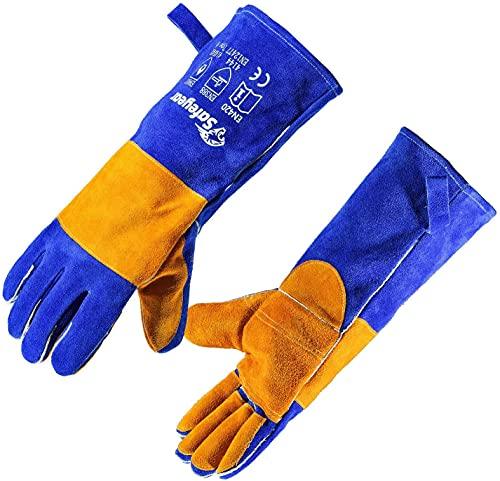 SAFEYEAR Guantes de cuero para soldar con costuras Kelvar, guantes de trabajo resistentes al fuego y al calor extremo para soldar, chimenea, estufa, horno, barbacoa, jardinería de 16 in / 40 cm