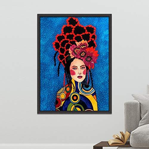 Geiqianjiumai Carácter nórdico Moderno Personaje Lienzo impresión del Arte Abstracto Chica Imagen Dormitorio Sala Pared Arte sin Marco Pintura 40x50 cm