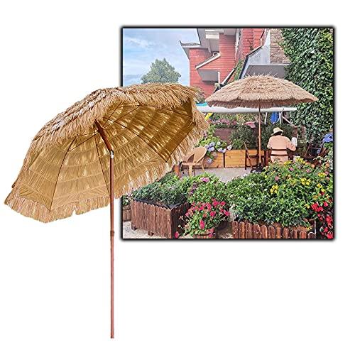 Outech Sombrilla de Playa Hawaiana con Techo de Paja, Patio Parasol, Utilizada para Césped, Piscina, Patio, Jardín Sombrilla Paraguas, Ventilada, con 8 Costillas Resistentes De 1,8 MX 2,35 M