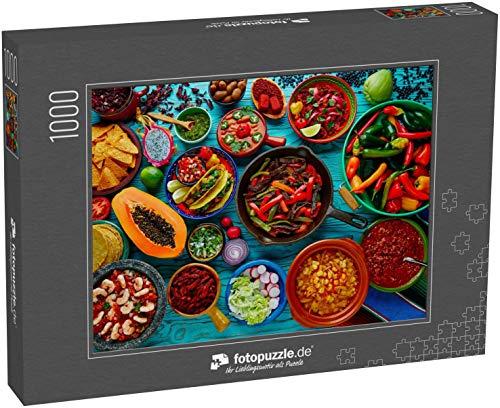 Puzzle 1000 Teile Mexikanisches Essen Mischung bunter Hintergrund Mexiko - Klassische Puzzle, 1000 / 200 / 2000 Teile, edle Motiv-Schachtel, Fotopuzzle-Kollektion \'Essen\' (1000, 200 oder 2000 Teile)