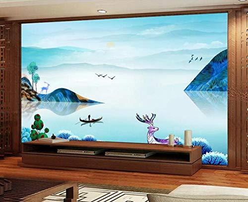 Fotobehang landschap schilderij poster kantoor boekenkast woonkamer slaapkamer decoratie fotobehang 350cmx256cm