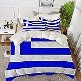 Lyyeaz Bettwäsche Set Griechenland Microfaser Bettbezug Set 135 x 200 cm mit 2 Kissenbezügen 50 x...