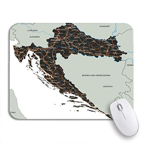 VICAFUCI Mauspad,rechteckig,Anti-Rutsch-Mauspad,Abstrakte hochdetaillierte kroatische Straßenkarte, die Adria kennzeichnet,Maus,Computer,Mausunterlage,Unterlage,Schreibtisch,Schreibtischunterlage