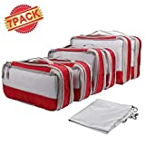 Wimaha Travel Compression Packing Cubes Set, Extensible Storage Mesh Bags, 6Pcs Polyester Travel Clothes Organizers Luggage Cubes with 1Pc Laundry Bag, Water-Resistant, Multiple Sizes, Grey Red