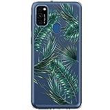Funda blanda compatible con Samsung Galaxy M31, funda de silicona suave TPU transparente, antigolpes, antiamarilla, funda de silicona para Galaxy M31, diseño de flores de mármol Samsung Galaxy M31 E