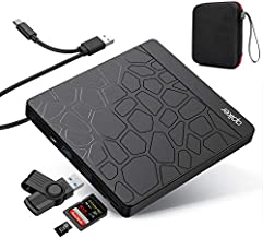 Apiker External DVD Drive, USB3.0 CD DVD +/-RW Burner for Laptop, Optical Disk Drive with SD Slot, Type C Cord and Carrying Case, Multi-Functional, for PC Desktop Mac Book Windows 10/8/7 Linux OS