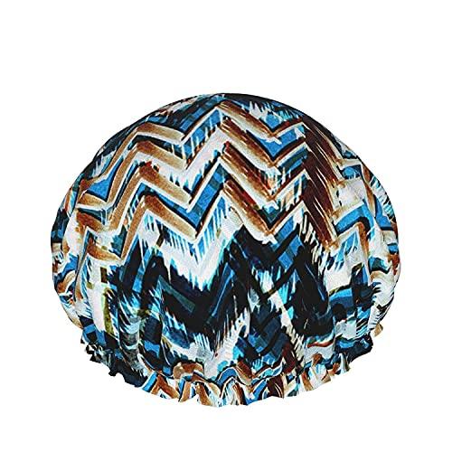Gorro de ducha impermeable de doble capa, acuarela floral patrón tropical adelfa blanca, para mujeres, reutilizables, lavables, cabello largo cap-color_14