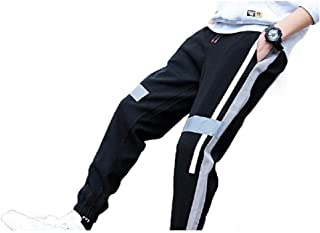 Mens Fleece Thickened Stripe Elastic Waist Warm Jogging Pants