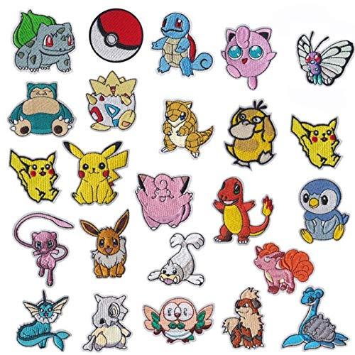 NANANANA Lot de 25 écussons brodés à repasser Motif Pokémon dessin animé Pikachu pour filles garçons Vêtements Accessoires