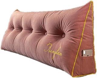 Almohadas de cuña Grande, Cojines Decorativos para el Cuerpo, Respaldo de Cama, Refuerzo de Lectura, cojín Lumbar para cabecera Trasera (Color : Pink, Size : 180 * 20 * 50cm)