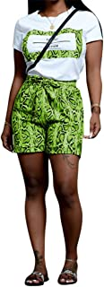 Women Snakeskin Short Sets Outfits - Casual Animal Print Short Sleeve T-Shirts and Bodycon Shorts Sweatsuits Set with Belt