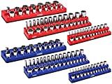 ARES 60058-6-Pack Set Metric and SAE Magnetic Socket Organizers -Blue and Red -1/4 in, 3/8 in, 1/2 in Socket Holders -143 Pieces of Standard (Shallow) and Deep Sockets -Organize Your Tool Box