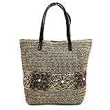 Faylinn  Bolso Paja Tejido de Hombro de mujer | Bolso de Playa con Estilo - Laura Medidas 42 x 37 x 3 cm