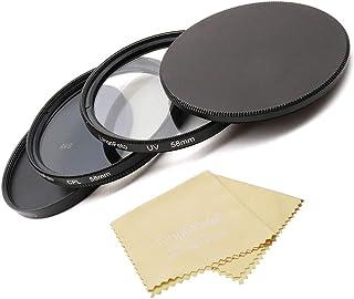 LingoFoto 58mm UV + Circular Polarizing (CPL) Lens Filter Kit with Metal Lens Filter Stack Cap Filter Protective Case &Len...