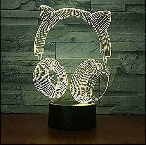 Gift Koptelefoon 7 Kleurloze Nachtlamp 3D Led Gift Stereo Lamp Kids Kamer Led Kinderen Lampen
