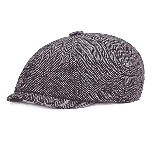 Quanhaigou Newsboy Hats Cotton Men Caps Classic 8 Panel Gatsby Ivy Tweed Driving Hat Light Grey
