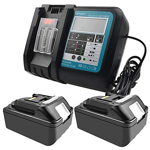 2 piezas 18 V 4,0 Ah batería de ion de litio de repuesto con 3 A cargador de repuesto para Makita Radio de construcción DMR110 DMR112 DMR107 DMR108 BMR100 18 V Radio inalámbrica Bluetooth