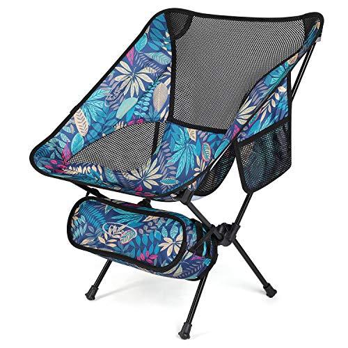 G4Free Silla de campamento portátil mejorada, plegable, compacta, resistente, 108,9 kg, ultraligera para exteriores, camping, viajes, playa, picnic, festival, senderismo (hoja de arce, azul)
