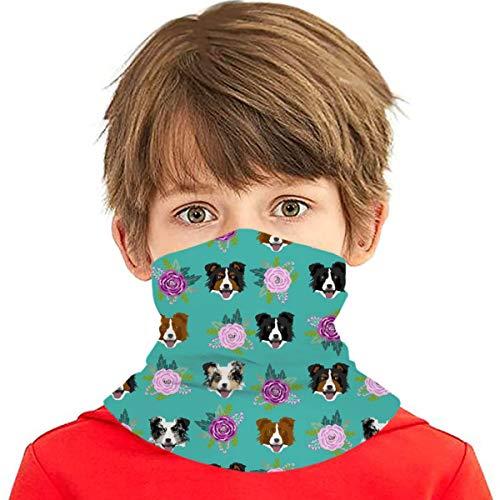 PGTry - Pañuelo multiusos para niños y niñas, protección UV, protector para la cara, cuello, pasamontañas para verano, ciclismo, senderismo, deportes, exteriores, Border Collie, ramo floral de perro turquesa