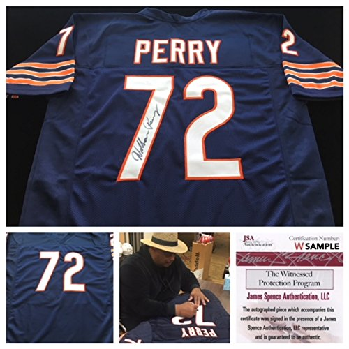 William Perry Chicago Bears Signed Autograph Blue Jersey JSA COA