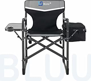 BLUU Aluminum Folding Camping Chairs, Heavy Duty Camp Director Chair for Adults, Lightweight Chair with Side Table and Coo...