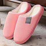 COQUI Pantuflas de mujer talla 18, Pantuflas de algodón para mujer de invierno antideslizante suela gruesa cálida pareja de zapatillas rosas-(algodón)_36-37