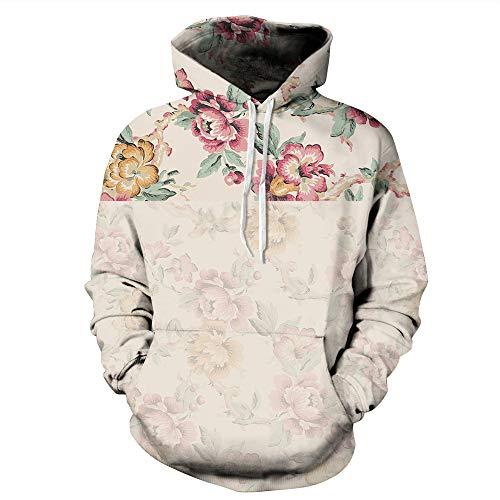 BOZEVON Hoodie - Hommes Manches Longues 3D Coloré Imprimé à Cordon Capuche Poche Avant Sweatshirts Frais,Fleur Beige,2XL/3XL