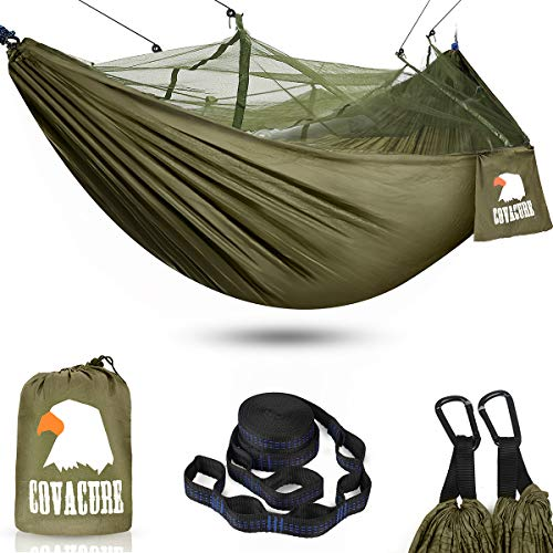 Camping Hammock with Net - Lightweight COVACURE Double Hammock, Portable Hammocks for Indoor,...