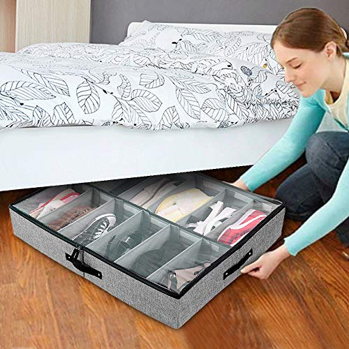 Under Bed Shoe Storage Organizer Adjustable Dividers 12 Pairs with Sturdy Sides and Bottom Clear Cover and Reinforced Handles Underbed Closet Storage Solution for Shoes