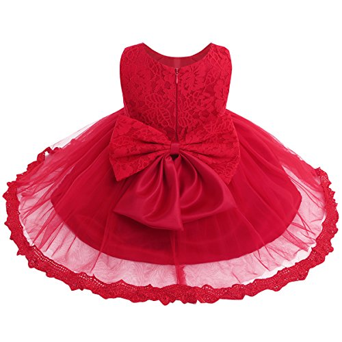 TiaoBug Baby Girls Floral Lace Formal Dress Bowknot Baptism Elegant Embroidery Pageant Party Flower Dresses Up Tutu Gown (9-12 Months, Red)