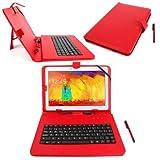 DURAGADGET Funda/Teclado Color Rojo En ESPAÑOL con Letra Ñ para Sony Xperia Z/Tablet S - con Conexión MicroUsb + Lápiz Stylus