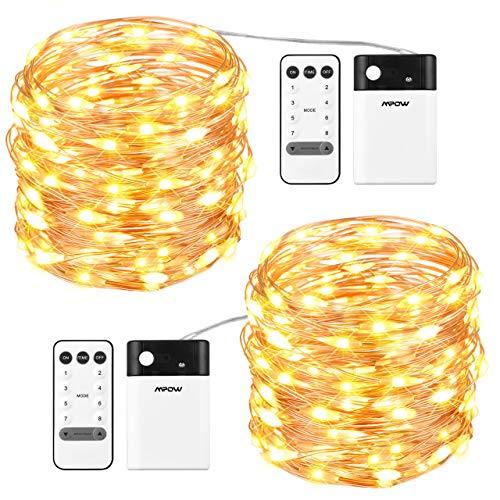 Mpow 100 LEDs Lichterketten, Batterienbetrieben Warm oder Kaltweiß 8 Modi Einstellbar, Dimmbar mit Fernbedienung, Niederspannung, Dekorative Lichter Weihnachtsdeko für Schlafzimmer, Partys, 2 Stück