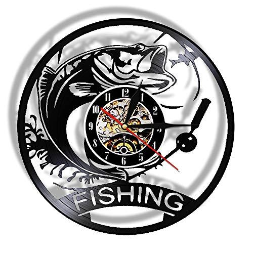 Reloj de Pared de Pesca de 7 Colores Hecho de Disco de Vinilo Real, lámpara de luz Nocturna Led mecánica para Peces,Reloj de Cocina, Regalo de Pescador de Pesca