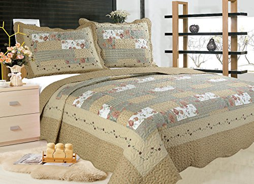 ALL FOR YOU 3-Piece Reversible Bedspread/Coverlet/Quilt Set-Orange, Pink, Purple, Blue Flowers and sage Green Leaves Prints (King)