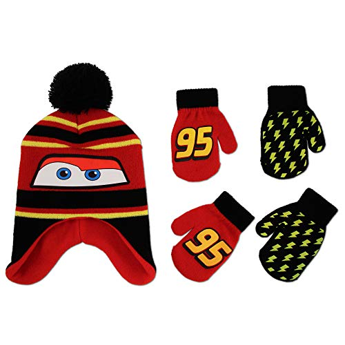 Image of Disney Cars Lightning McQueen Winter Hat and 2 Pair Mittens or Gloves (Age 2-7), (Black, Red, Yellow Design Mittens 2-4)