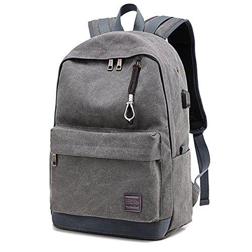 Etbotu tela zaino Zaino per scuola zaino da viaggio con porta di ricarica USB adatto 39,6cm portatile